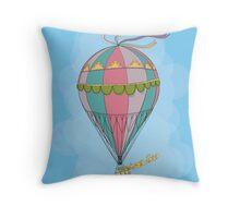 girl in an vintage hot air balloon Throw Pillow