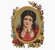 Vintage kitsch lady with black hair Kids Tee