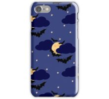 Black bats against the moon in the sky iPhone Case/Skin