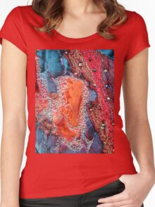 Abstract Machine Embroidery Women's Fitted Scoop T-Shirt