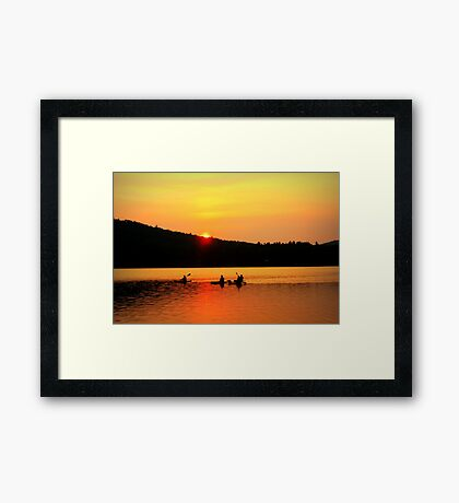 Kayaking on Brettun's Pond, ME Framed Print