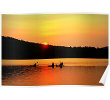 Kayaking on Brettun's Pond, ME Poster