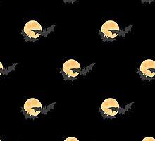 Black bats against the moon in the sky 2 by kylmaviha