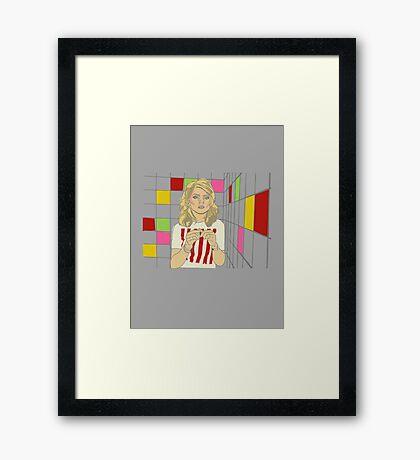 Debbie with coloured blocks Framed Print
