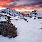 Fiery Winter Sunset by Michael Gay
