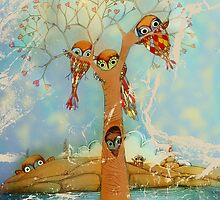 tree of love owls by © Karin (Cassidy) Taylor