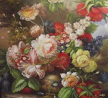 classical flower oil painting by jackie leung