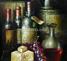 wine bottle oil painting by jackie leung