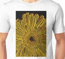 Yellow Flower Woodcut Unisex T-Shirt