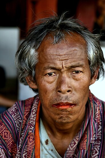 Portrait of a Man with Betel Nut Stained Lips, Bhutan, by Carole-Anne Fooks by Carole-Anne