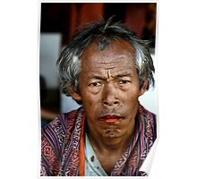 Portrait of a Man with Betel Nut Stained Lips, Bhutan, by Carole-Anne Fooks Poster