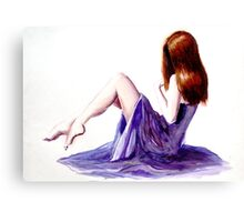 Rebecca (watercolours on paper) Canvas Print