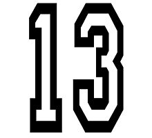 13, TEAM SPORTS, NUMBER 13, THIRTEEN, THIRTEENTH, ONE, THREE, Competition, Unlucky, Luck Photographic Print