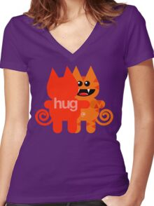 KAT HUG Women's Fitted V-Neck T-Shirt