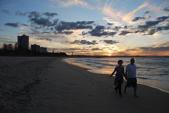 Sunset Stroll along Coolangatta Beach by Graham Mewburn