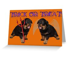 Cute Rottweiler Halloween Trick or Treat Greeting Greeting Card