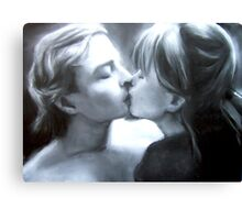 Paul Kissing Miss Polly (pastel and charcoal and chalk) Canvas Print