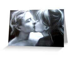Paul Kissing Miss Polly (pastel and charcoal and chalk) Greeting Card