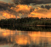 Sunset Reflections - Narrabeen Lakes ,Sydney Australia - The HDR Experience by Philip Johnson