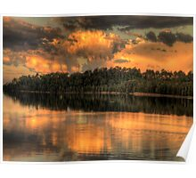 Sunset Reflections - Narrabeen Lakes ,Sydney Australia - The HDR Experience Poster