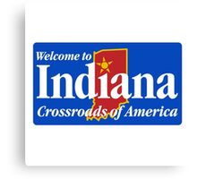 Welcome to Indiana Road Sign Canvas Print