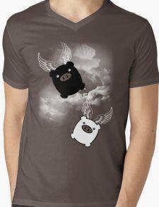 TWIN PIGS FLYING Mens V-Neck T-Shirt