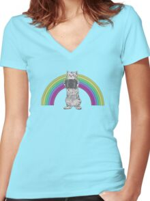 LOMO KITTY!  Women's Fitted V-Neck T-Shirt