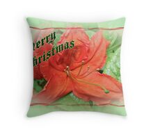 Merry Christmas Orange Azalea Floral Throw Pillow
