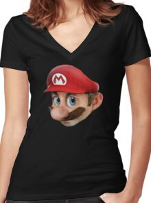 Realistic mario Women's Fitted V-Neck T-Shirt