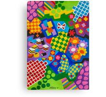 Color And Chapes With Squares - English Liquoris - Brush And Gouache Canvas Print