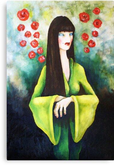 geisha with flowers 2 by matthew  chapman
