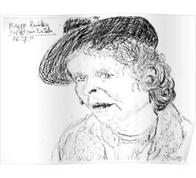 Maggie Hambling on YouTube -(260711)- Biro pen/black ink Poster