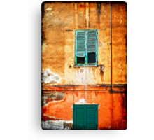 Italian green shutters Canvas Print