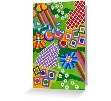 Color And Shapes With Squares And 2 Big Flowers - Brush And Gouache Greeting Card