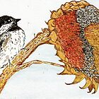 Black capped Chickadee on Sunflower by Lynda Earley