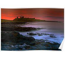 Dunstanburgh Castle at sunset Poster