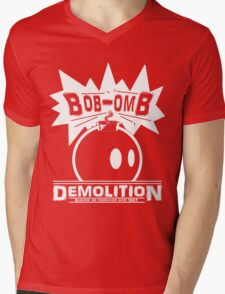 Bob-Omb Demolition White Mens V-Neck T-Shirt