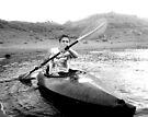 Eric Kayaking, in black and white by Corri Gryting Gutzman