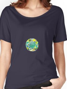 Green watercolor diamond Women's Relaxed Fit T-Shirt