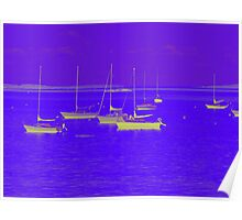 Iridescent Boats at Dusk Poster