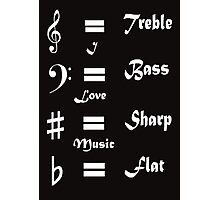 I ♥ Music (Style #1 White on Dark Colours) Photographic Print