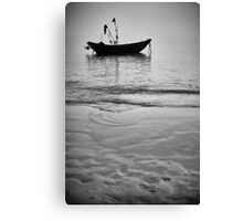 Working Boat Black and white Canvas Print