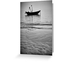 Working Boat Black and white Greeting Card