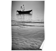 Working Boat Black and white Poster