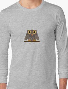 Sitting Grey Owl  Long Sleeve T-Shirt