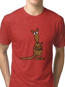 Funky Mother Kangaroo and Babies Tri-blend T-Shirt