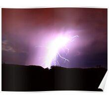 Lightening over the Black mountain, Tucson, AZ Poster