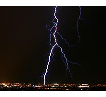 Lightning over Tucson, taken from the Tucson mountains. Photographic Print