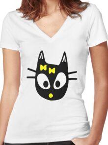 Balck Cat Women's Fitted V-Neck T-Shirt