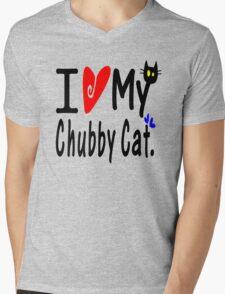 Chubby Cat Mens V-Neck T-Shirt